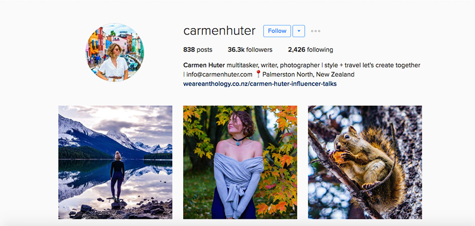 Carmen Huter, 10 Unique Travel Instagram Accounts to Follow | TraveLibro Travel Blog